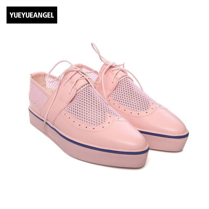 Women Loafers Lace Up Casual Shoes Female Mesh Round Toe Autumn Fashion Shoes Wing Tip Brogue Shoes Pink White Large Size 39 40 new spring women casual platform shoes lace up round toe black pink white casual shoes women comfortble ladies shoes size 33 43
