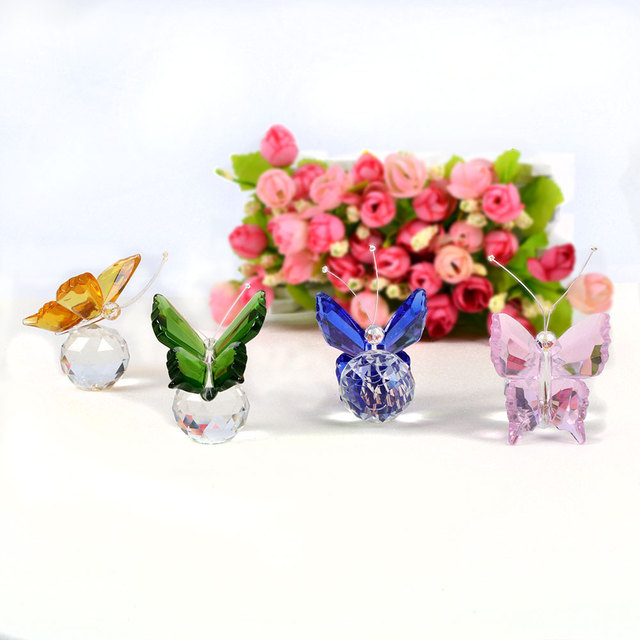 1 Pcs Colorful Crystal Butterfly Crafts Paperweight Animal Figurines  Miniatures for Wedding Artificial Decorations Birthday Gift-in Figurines &