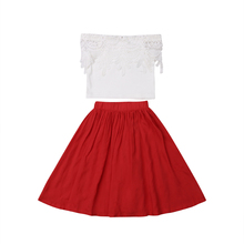 Princess Baby Girls Outfits Clothes Lace Off Shoulder Tops T-shirt High Waist Tutu Skirt 2PCS Sets 2019 2016 new princess baby girls clothing sets summer sleeveless tops and tutu seqiun lace mini skirt 2pcs party girls outfits 2 7y