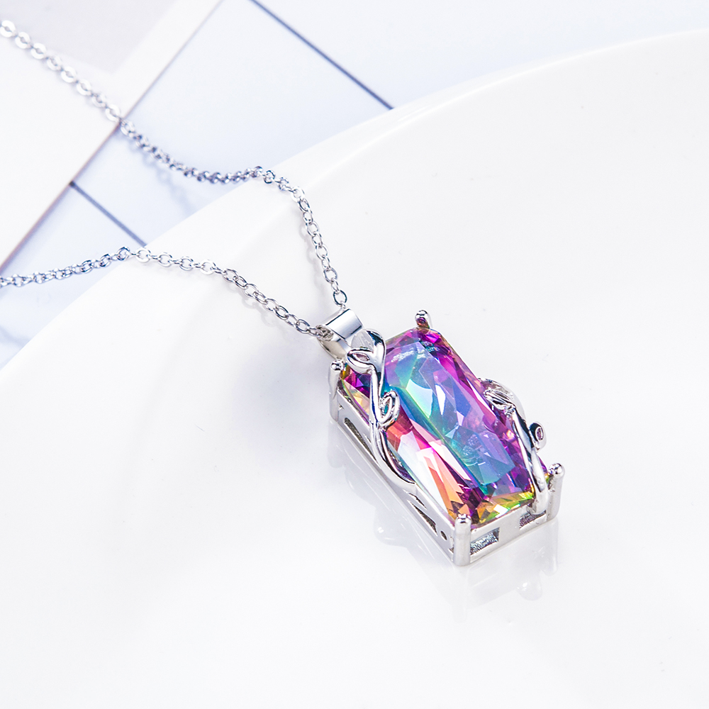 New Fashion Women Jewelry Silver Mystic Rainbow Pendant Chain 24inch Chocker Necklace Party Prom collares de moda 2019 in Pendant Necklaces from Jewelry Accessories