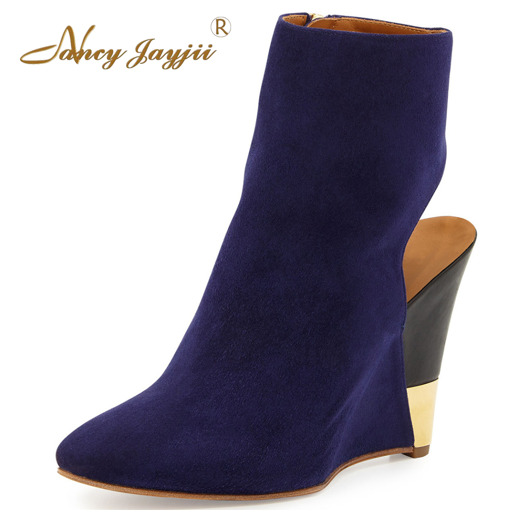 Sheep Suede Purple Blue&Black Winter Snow Pointed Toe Wedges Heels Ankle Women Boots Shoes for Woman Party Zapatos Botas Mujer nancyjayjii 2017 fashion lady black suede peep toe high heels ankle boots shoes for woman zapatos botas mujer plus size 5 14