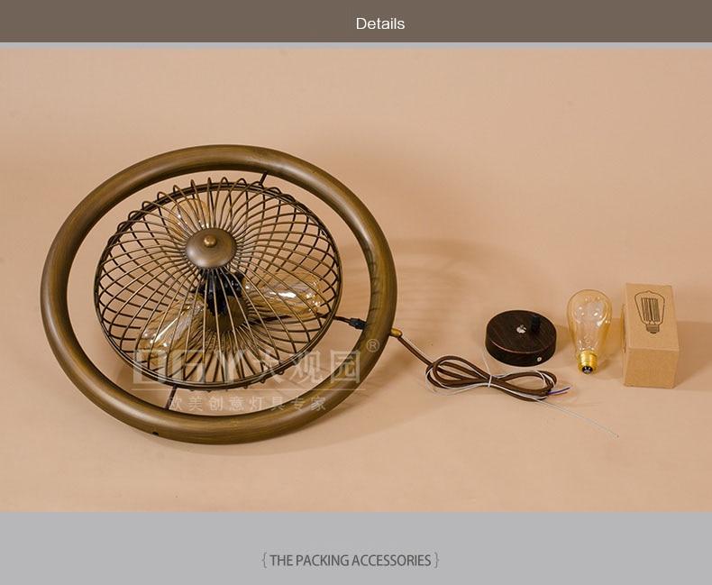 Retro Electric Fan Style Pendant Ligh. Black / Brown Rural Industrial Wind Turbine Personality Bar Edison Bulb E27 AC 110V-220V