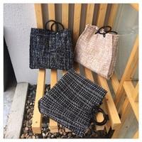Luxury Handbags Women Bags Designer Real 2018 Winter New Simple Woolen Shoulder Bag Ms. Tote Large Capacity Portable Shopping