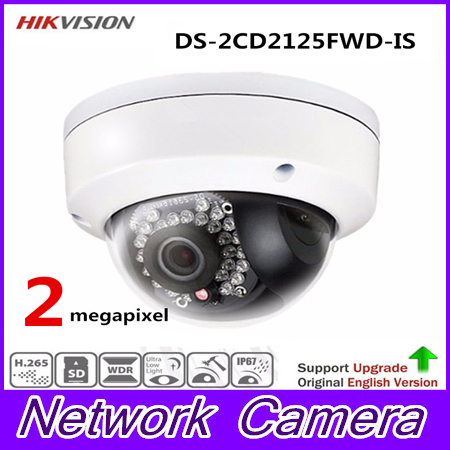 HiK New Released H.265 IP Camera DS-2CD2125FWD-IS 2MP Ultra-Low Light Network Dome Camera IP67 On-Board Storage Support Upgrade hikvision new released 8mp h 265 network dome camera ds 2cd2185fwd i 3d dnr bullet camera 3840 2160 resolution ik 10 ip 67