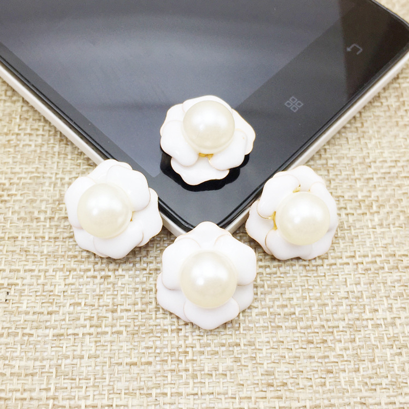 Home & Garden Apparel Sewing & Fabric Lovely 50pcs Pearl Rose Flower Button Jewelry Drill Charms Wedding Brides Hair Clip Flatback Floating Enamel Alloy Phones Embellishment