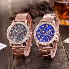 2019 New Top Brand Geneva Rosy Gold Casual Quartz Watch Women Sport Stainless Steel Dress Watches Relogio Feminino Hot Men Clock цена и фото