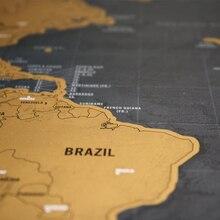 2 шт., черная карта мира, Делюкс, стирается, скретч, карта мира, украшение для комнаты, украшение для дома, наклейки на стену, персонализированная карта для путешествий, Скретч Карта