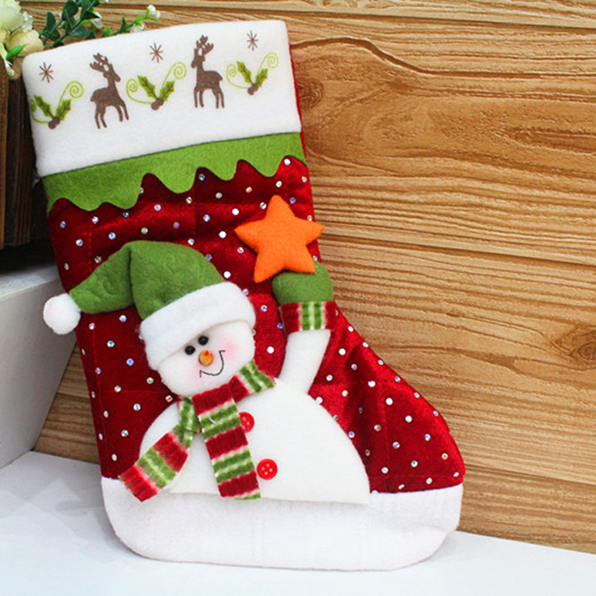 New Arrive Santa Claus Snowman Christmas Stockings Decoration Tree Ornaments Christmas Candy Bags Gift Holders for Childrens A02