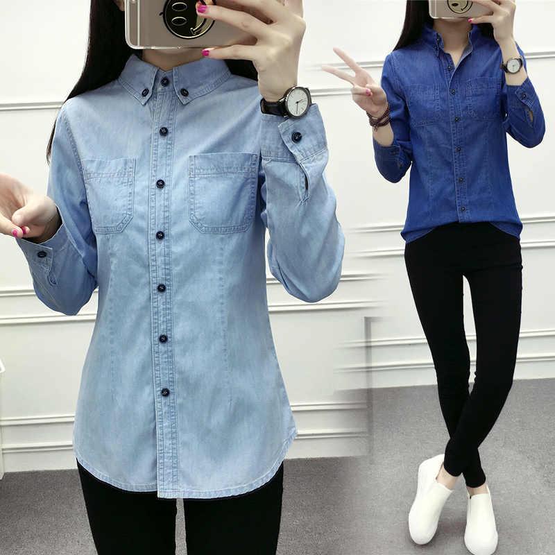 garantía limitada tienda del reino unido descuento mejor valorado Camisa de Jean para mujer camisas de manga larga para Mujer Tops y blusas  2018 señora Casual ropa de mujer Blusa Camisa Jeans feminina