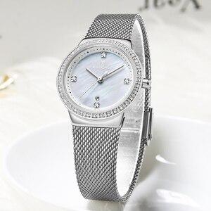 Image 3 - NAVIFORCE جديد إمرأة فاخر ماركة ساعة كوارتز سيدة موضة ساعات الفولاذ مقاوم للماء السيدات ساعة اليد Relogio Feminino