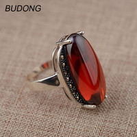 BUDONG Real 925 Sterling Silver Rings For Women Luxury Large Oval Shape Red Stone Resizable Punk
