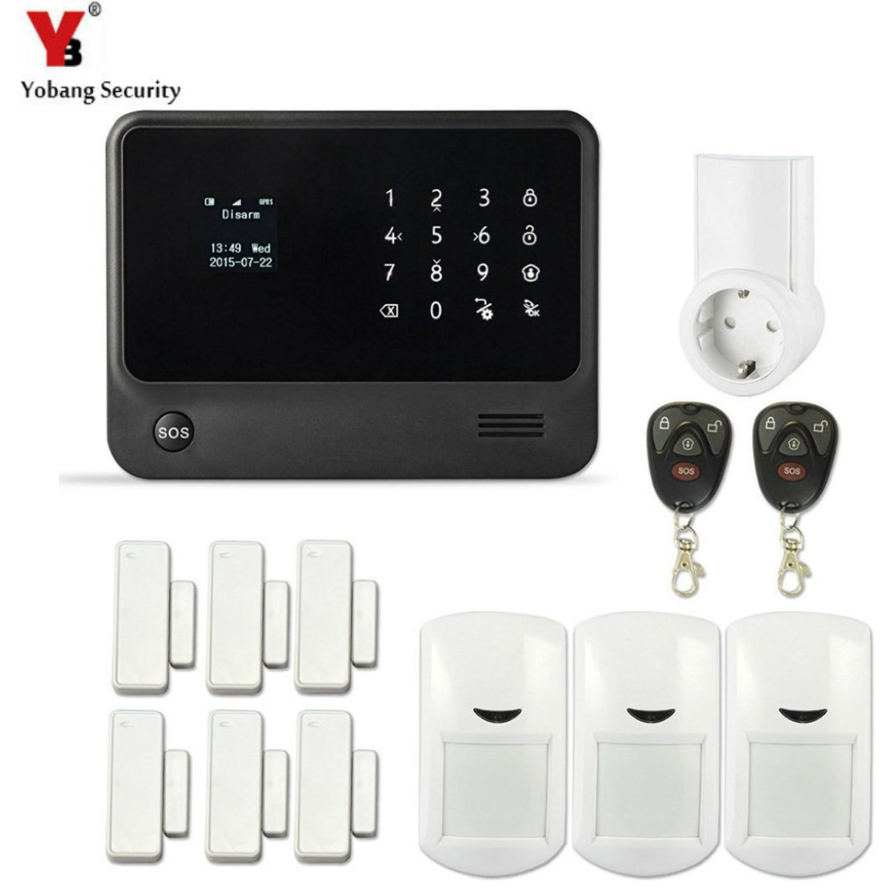 YobangSecurity Touch Keypad Home Protection WI FI GSM Security Alarm System APP Control PIR Detector Door Sensor G90B Socket yobangsecurity wifi alarm system wireless flash siren gsm burglar alarm g90b touch keypad app pir detector door gap sensor
