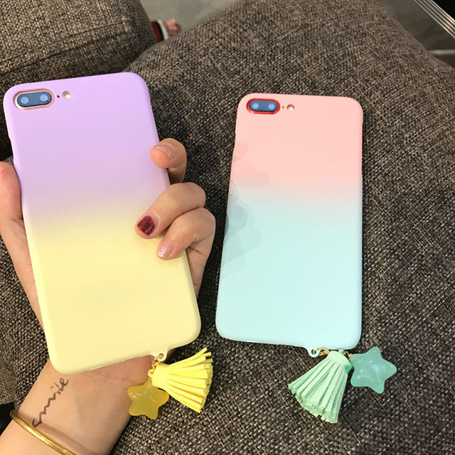 more photos a217d 2b5f0 US $2.89 |Cute Gradient color Matte Cases For iphone 6 6S plus Case Fashion  Tassel Pendant Phone Case Funny Letter Cover For iphone 7 plus-in ...