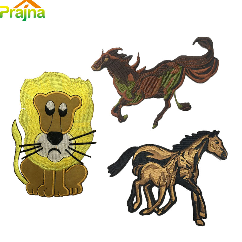 Large Animal Patches For Clothes Horse Embroidery Patch Stickers Cartoon Jacket Patches Embroidered Lion Patch Applique A71