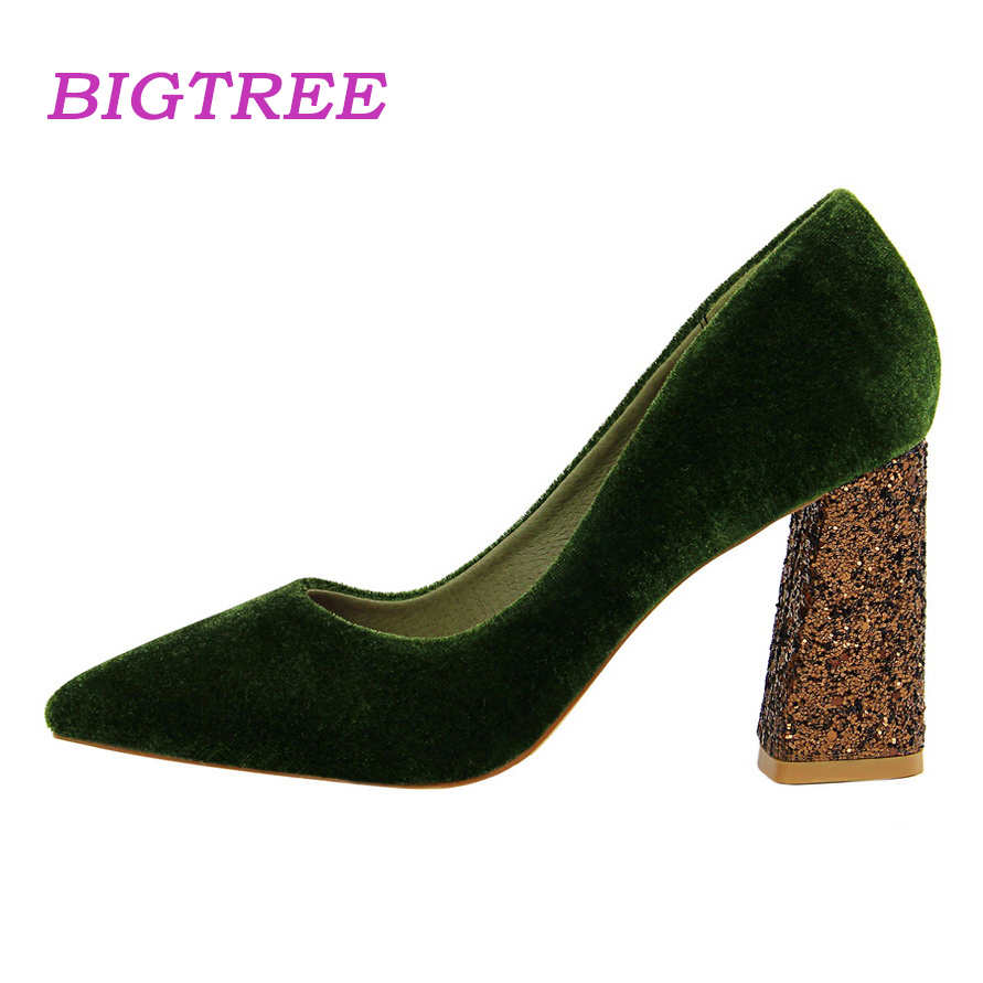 3ac8973f69c BIGTREE Brand Spring Women Glittery Thick High Heels Pumps Scarpin 2018 Ladies  Comfortable Valentine Heels Female Green Shoes