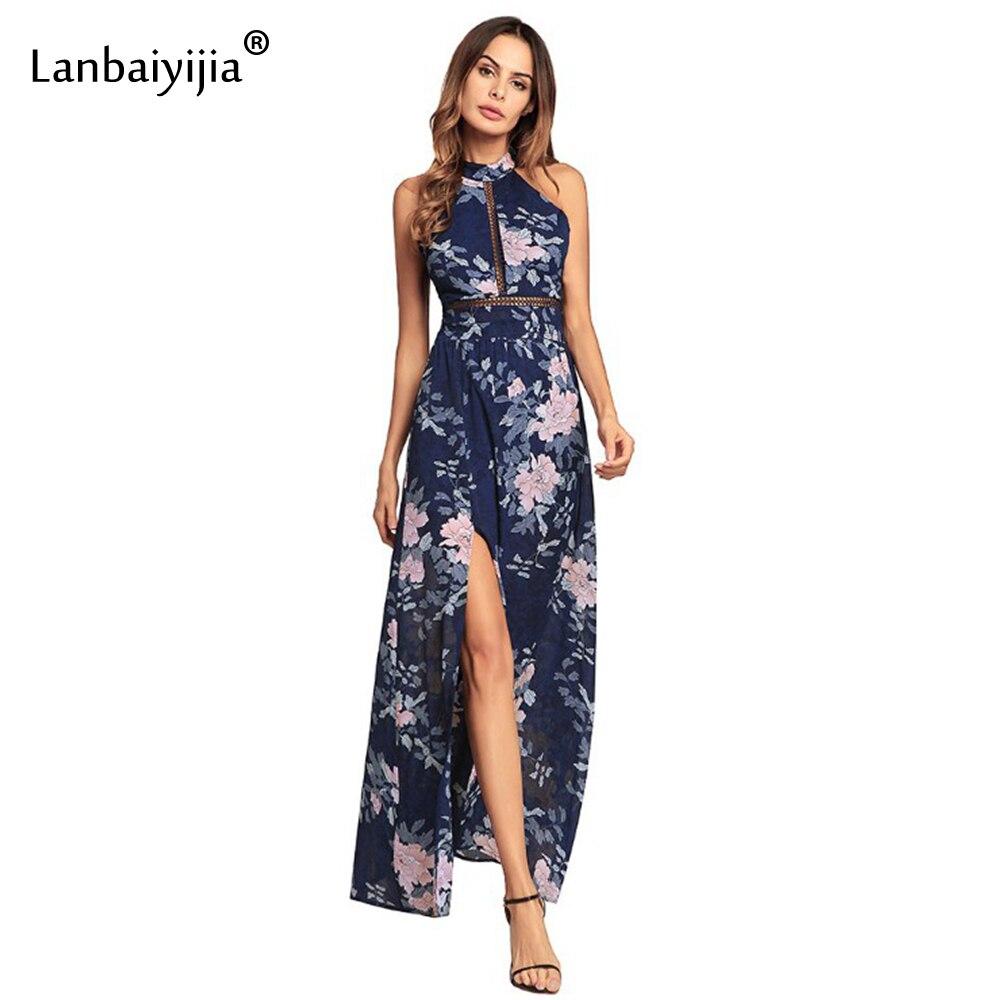 Lanbaiyijia 2018 nouveau Style robe en mousseline de soie femmes robe imprimer belles fleurs dos nu licou robes d'été robe de plage 2 couleurs
