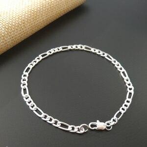 Pure 925 серебряные браслеты для женщин 4 мм Figaro Link жесткий браслет-цепочка женский браслет модное украшение на запястье аксессуары