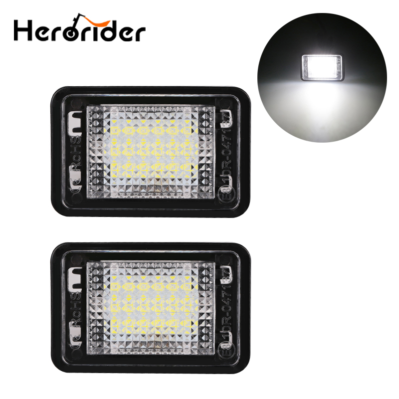 2pcs For MERCEDES BENZ GLK X204 Canbus Error Free LED License Plate Light White 12V LED Number Plate Lamp for Benz Accessories hot 2pcs error free 3528 smd 18 led car led license number plate light lamp white for bmw e46 4d sedan 5d wagon 12v