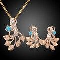 Женщины свадебное ювелирных изделий шарма кристалл оставляет ожерелья серьги комплект бирюзовый бижутерии роковой 2015
