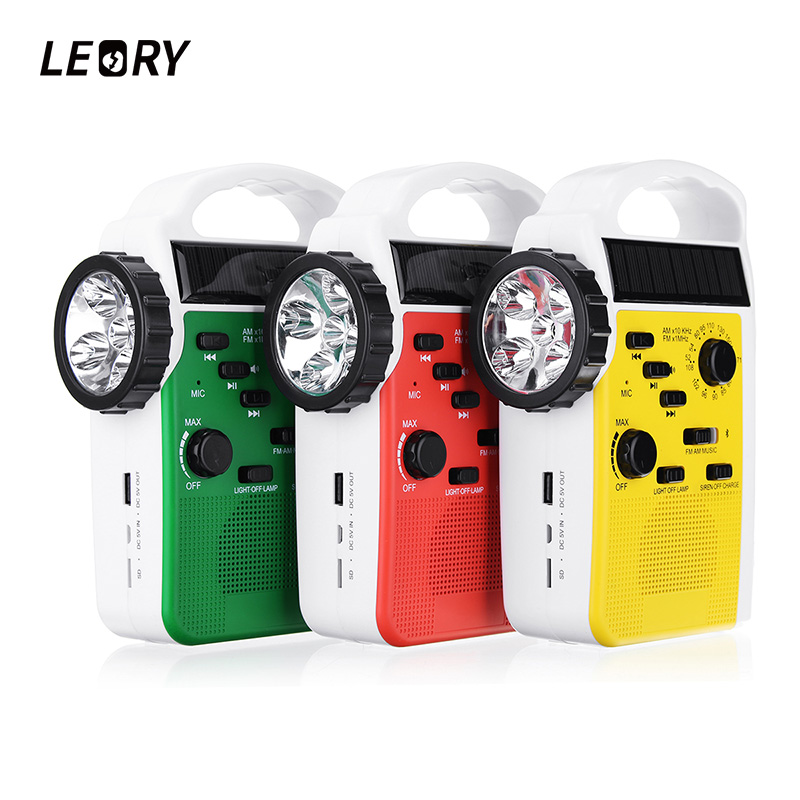 LEORY AM/FM Bluetooth Solar Hand Crank Dynamo Outdoor Radio With Speaker Emergency Receiver Mobile Power Supply 3 LED Flashlight protable am fm radio hand crank generator solar power radio with flashlight 2000mah phone charger