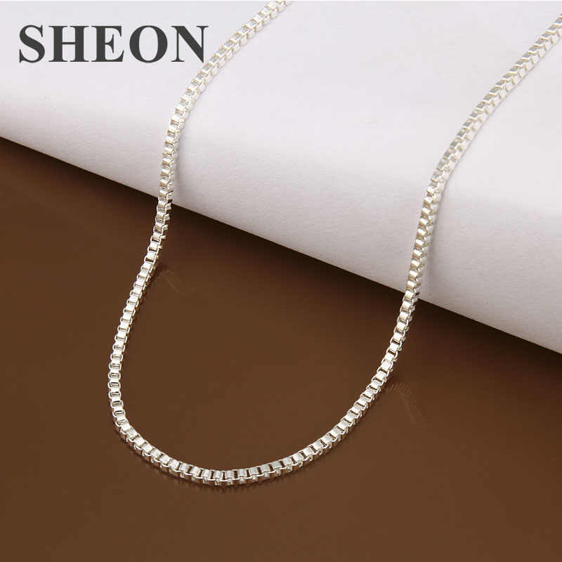 SHEON 1MM/2MM DIY women's chain Necklaces Silver Color Snake/Box/Figaro Chains Fashion Jewelry Beads for Pendant Accessories