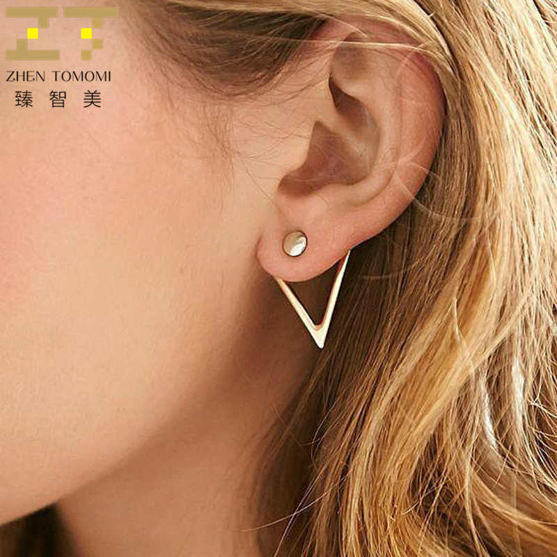 2019 Hot Fashion Earrings Jewelry Creative Personality V Earrings For Women Geometric Triangle Stud Earrings Brincos Oorbellen