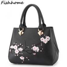 Fishhome Flowers Embroidery Women Messenger Bag Cherry Blossoms Fashion Simple Popular Handbags Lady Female Brand Designer ZHP26