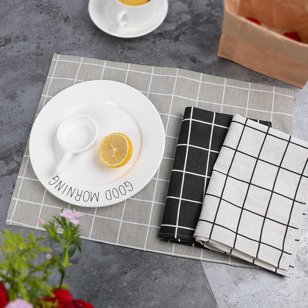 2019 gorąca sprzedaż 1 sztuk Plaid proste klasyczne jakości podkładka stołowa ręczniki stół maty bawełniane podkładka pod talerz podkładka pod talerz podstawki # F