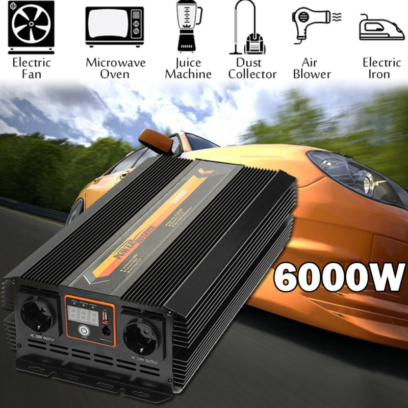 Power Inverter 3000W DC 12 V to AC 220 V Volt Car Adapter Charge Converter Pure Sine Wave USB Max 6000 Watts Transformer
