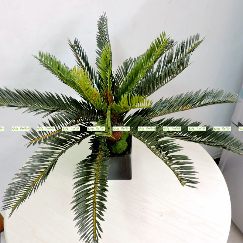 2017 Artificial Phoenix Coconut Palm Cycas Plant Tree Wedding Home Garden  Furniture Decor Lifelike Green No Vase AT129 - Palm Tree Centerpieces Promotion-Shop For Promotional Palm Tree