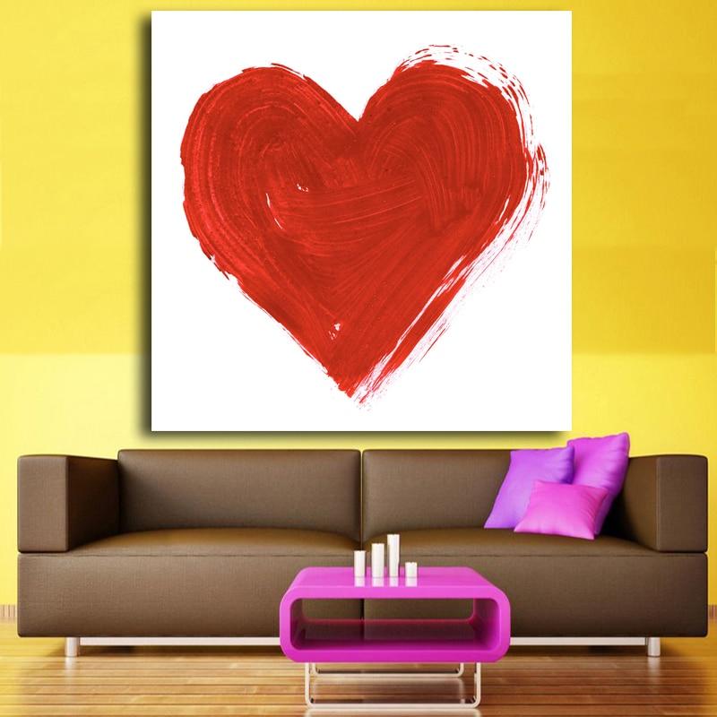 Aquarell romantische Rote Herz Leinwand Kunstdruck Poster ...