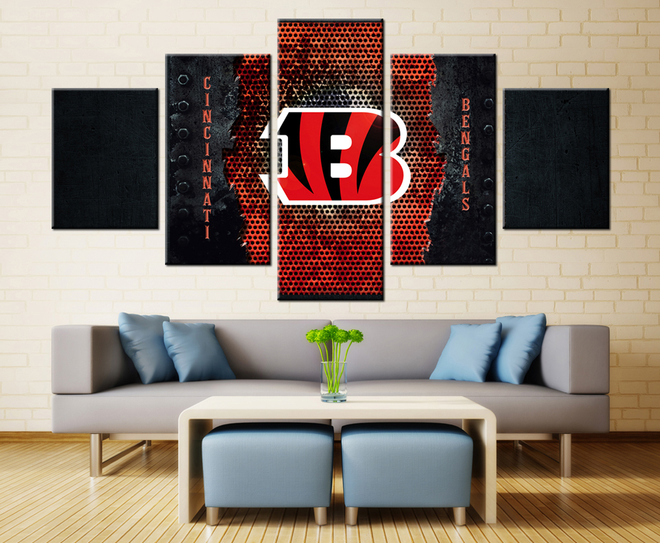 5 panel cincinnati bengals tiger modern home wall decor painting canvas art hd print painting canvas - Home Decor Cincinnati