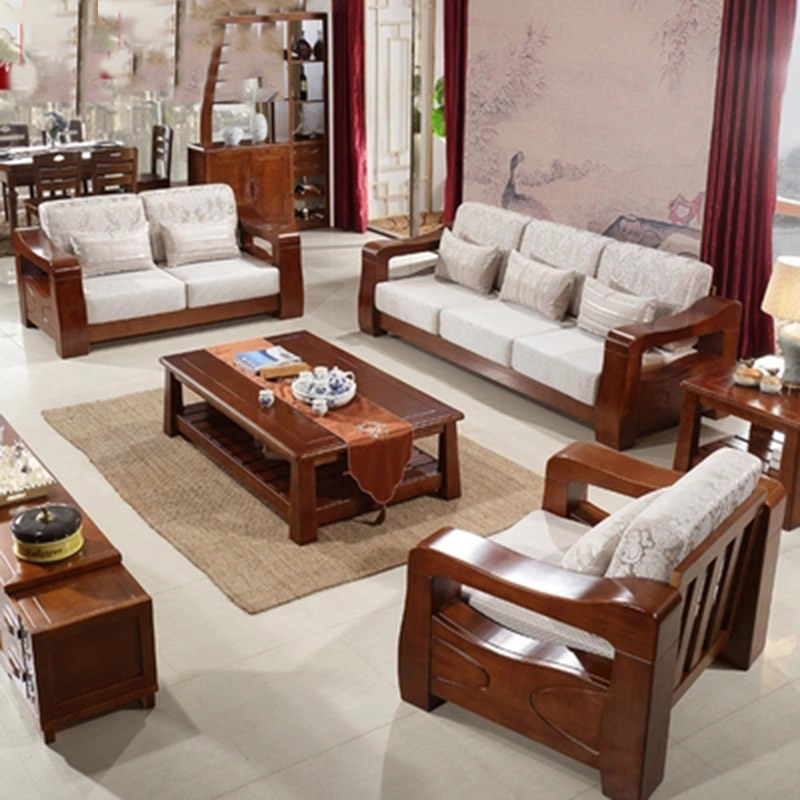 Solid wood sofa modern Chinese style living room Furniture Rubber wood Cloth art Couch Free shipping