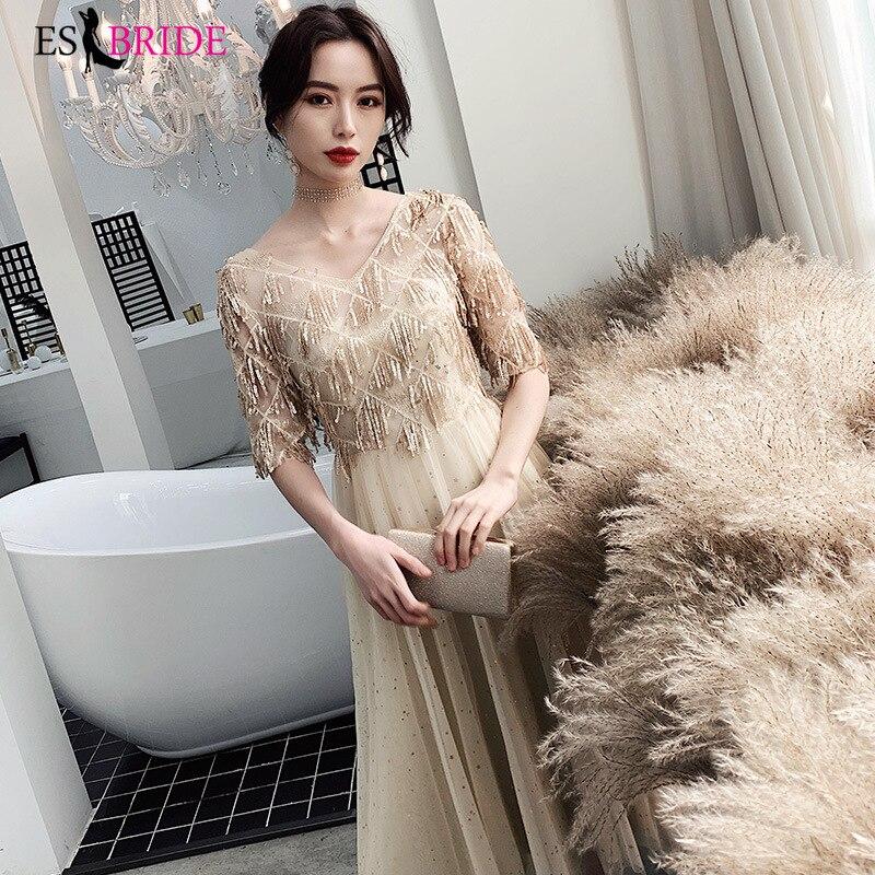 Champagne Luxury Formal   Dress   Women Elegant Short Sleeve   Evening   Gown Formal   Evening     Dress   Party Elegant   Evening     Dresses   ES2565