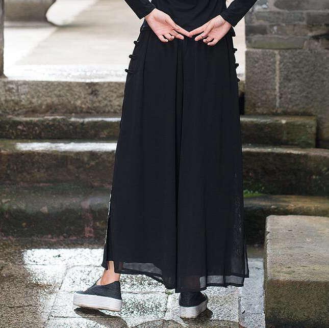 6d6ab07014 #0425 2018 Summer White/black wide leg pants Vintage Embroidery Cotton  linen Dress pants Flare Pantalon femme Chinese style -in Pants & Capris  from Women's ...