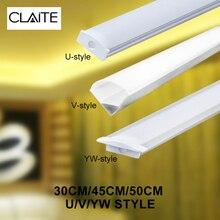 CLAITE 30 см 45 см 50 см три стиля U V YW алюминиевый держатель для светодиодных лент светильник под шкаф лампа для кухни ширина 1,8 см