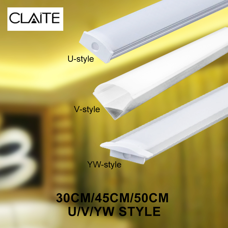 CLAITE 30cm 45cm 50cm Three Style U V YW Aluminium Channel Holder For LED Strip Light Bar Under Cabinet Lamp Kitchen 1.8cm Wide