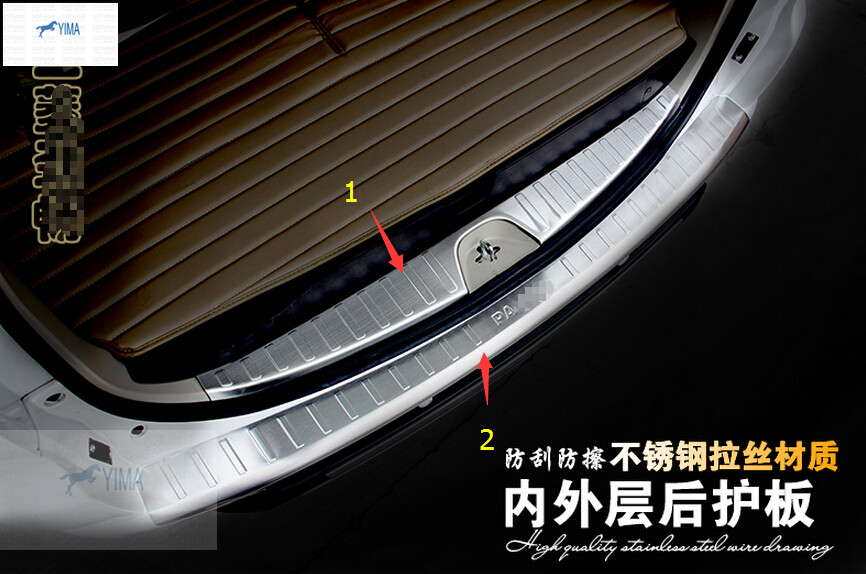 For Mitsubishi Montero / Pajero Sport 2010 - 2014 Stainless Steel Rear Outer + Inner Bumper Protector Door Sill Plate 2 Pcs more fun for kia sorento l 2016 2017 rear bumper inner outer door sill protector plate 2 pcs set