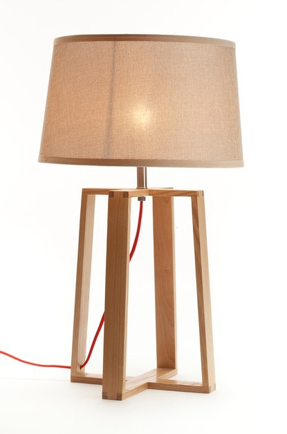 Ems Free Table Lamps E14 Wooden Handmade Quadripod Stand Desk Lamp With White Fabric Shade Small