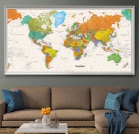 Canvas Oil Prints Painting National Geographic World Map Wall Art Sticker Print Pictures Living Room Home