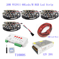 20M 15M 10M 5M WS2811 LED Strip WS2811 IC 60 leds/M RGB Smart Pixel Strip + T1000S Led Controller + 12V Led power supply