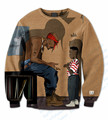 Real USA Size 3D Sublimation print Tupac x Kendrick Lamar Crewneck Sweatshirts plus size Custom made Clothing