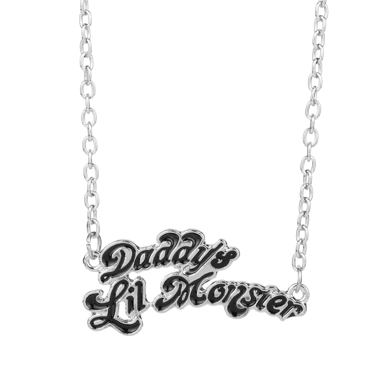 Hot Sale Suicide Squads Jewelry Harley Quinn Necklaces Daddy's Lil Monster Pendant Necklace Logo Cosplay Birthday Gift For Daddy