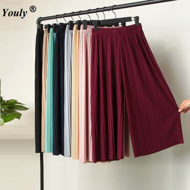 Women Ladies Pleated   Wide     Leg     Pants   2019 Summer Casual Loose Solid Chiffon Trousers Stretch Waist Boho   Pants   OL Pantalon Capris