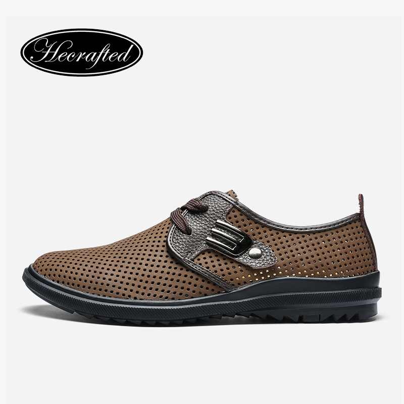Size 37~47 Full Grain Leather Men Summer Shoes Fashion Hecrafted Comfortable 2018 Men Casual Shoes #JR2928