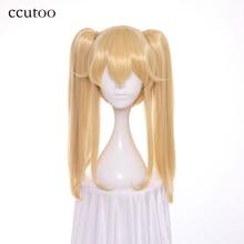 ccutoo 50cm Light Golden Kakegurui Compulsive Gambler Mary Saotome Synthetic Hair Cosplay Wig + 2 Clip on Ponytail
