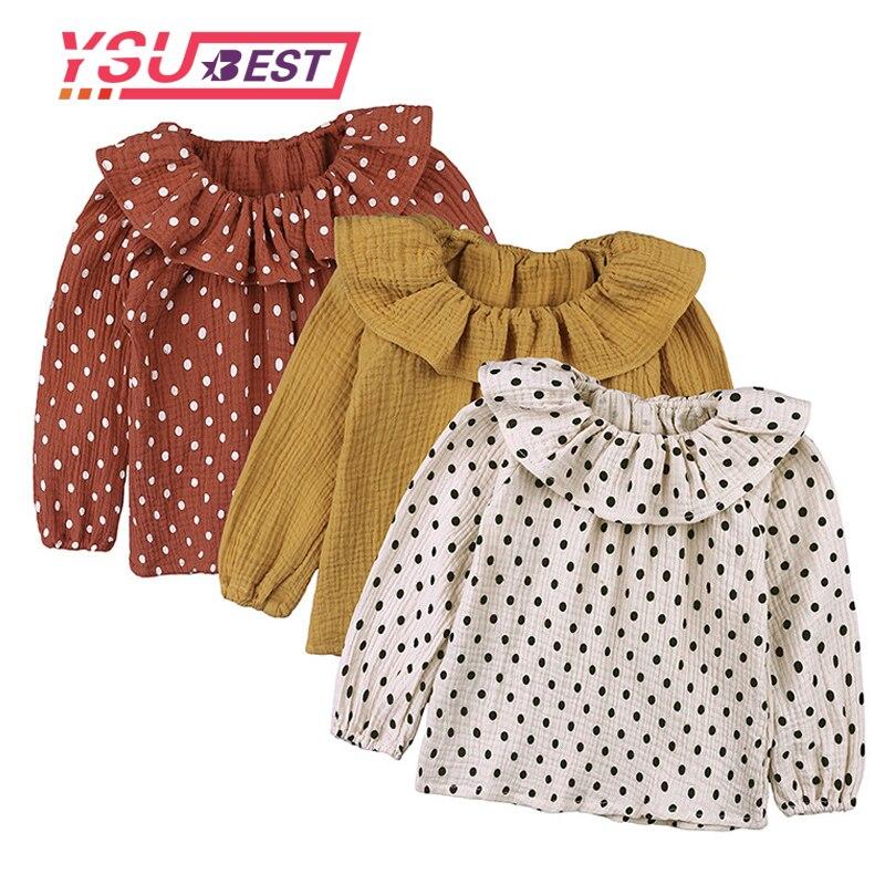 2018 rüschen Ärmeln Baumwolle Dot Top T-shirt Baby Mädchen Solide Langarm T Shirt Kinder Oansatz Kleinkind Shirts Herbst Mädchen T Shirts