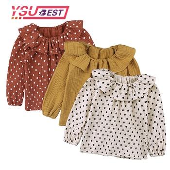 2f5aa7bef 2019 volantes mangas punto de algodón camiseta de bebé niña de manga larga  Camiseta cuello niños camisas de niño otoño las niñas T camisas