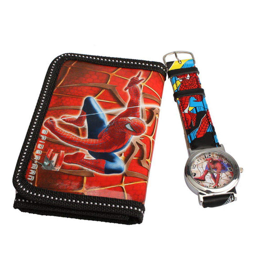 Cartoon <font><b>Watches</b></font> <font><b>Spider</b></font> <font><b>Man</b></font> Series <font><b>Quartz</b></font> <font><b>Watch</b></font> With Purse Lovely Red Great Gift For <font><b>Kids</b></font> BS88 ETS88