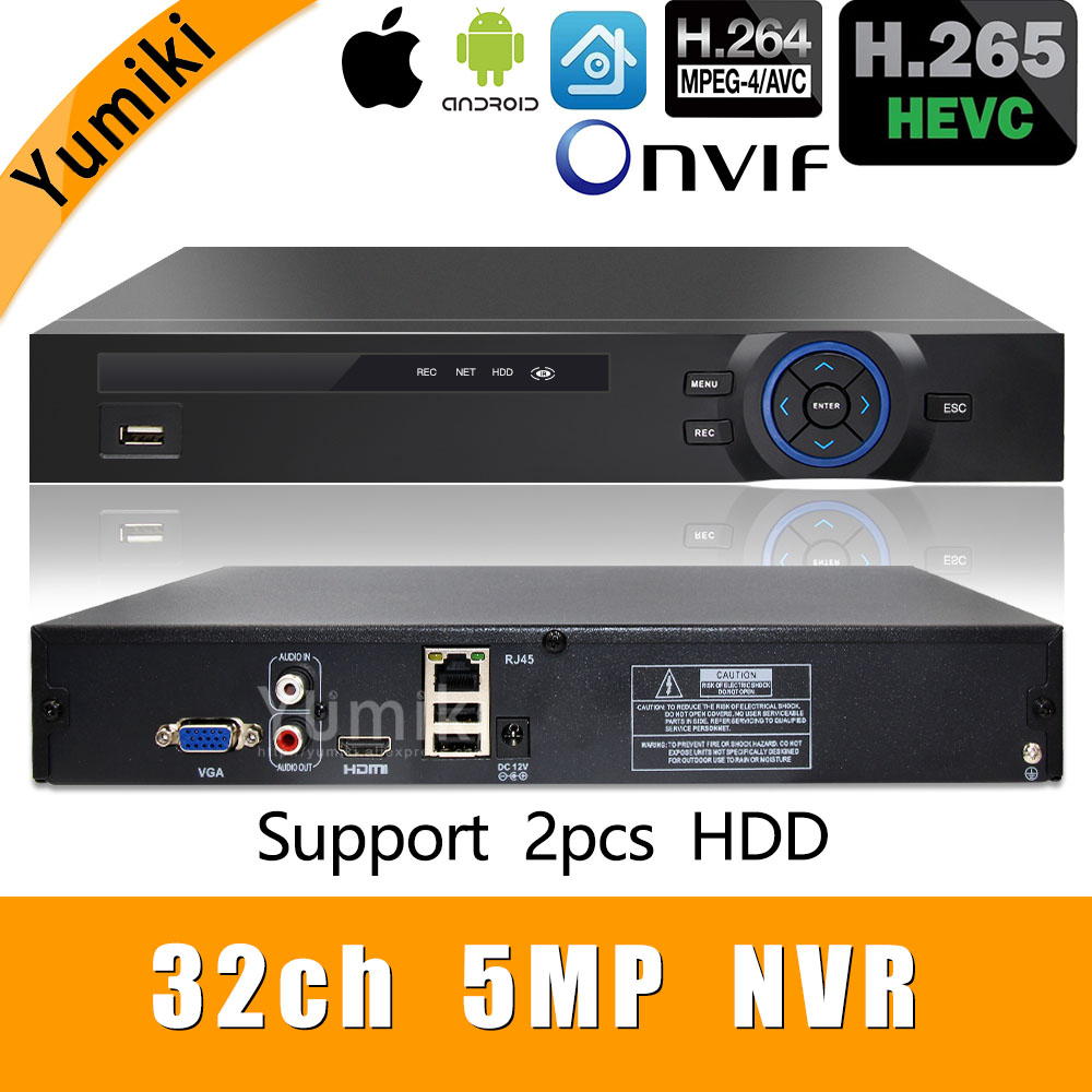 H.265+/H.264 8ch*4K/32ch*5.0MP/32ch*1080P NVR Network Vidoe Recorder 960P/720P IP Camera ONVIF CMS XMEYE 2*SATA With Front USB
